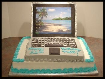 This is my first laptop cake. Bottom layer is a 12x18 and the laptop is a 9x13.  The keyboard keys are made from black fondant that I cut out with square cutters. The screen is a piece of styrofoam size 9x13, I wrapped it with foil, glued a piece of black construction paper on the front, and did a screenshot of my computer desktop printed it out and glued it on top of the construction paper. The screen is held in place by 4 dowel rods stuck halfway in the bottom of the screen and halfway in the bottom cake.