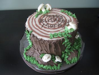 I made this for my husband's cousin's (who is a forester) birthday. Chocolate WASC with chocolate buttercream. The mushrooms are fondant sprinkled with cocoa.