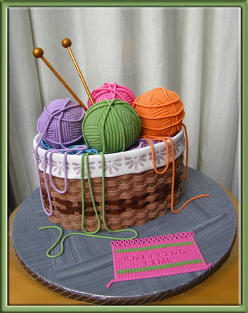 For a friend of mine who is a master of knitting. It is a yellow cake with mocha filling. Yarn balls are made of a trail-mix bar as a core, a layer of crispy rice around it and finished with a layer of chocolate. Everything else fondant and fondant mixed with gum-tex powder.