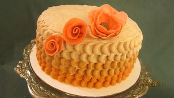 """1st time trying """"petal"""" technique.  Snickerdoodle cake with cinnamon icing"""