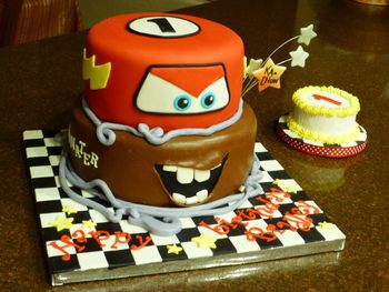 Lightening McQueen & Towmater!  all decor is done with MMF & Chocolate MMF, except Black & Red - done in Duff's