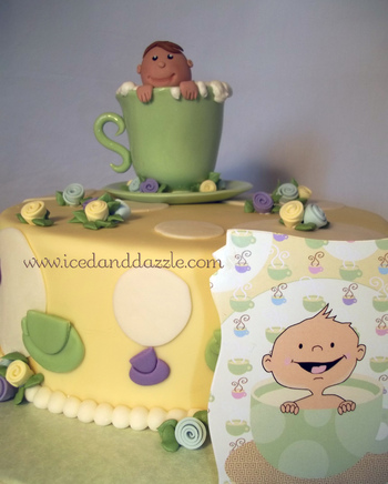 Tea Party Theme Baby Shower Cake