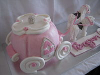 Chocolate mud cake - the little girl is horse mad, so her mum asked for a princess carriage with horses. My first time making horses (and carriage) and I was very pleased with how it turned out