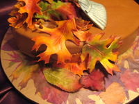 Close up of gum paste leaves. I used real leaves from my yard which I pressed and put on the cake board. I tried to match the gorgeous colors they had this fall.