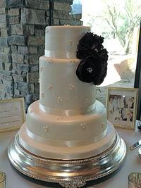 "1st wedding cake - MMF, silk flowers.  12"" bottom, 8"" double barrel, 6"""