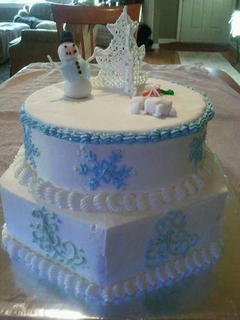 Italian meringue buttercream cake I made with my granddaughter.