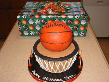 Basketball Cake For A Lot Of People CakeCentralcom