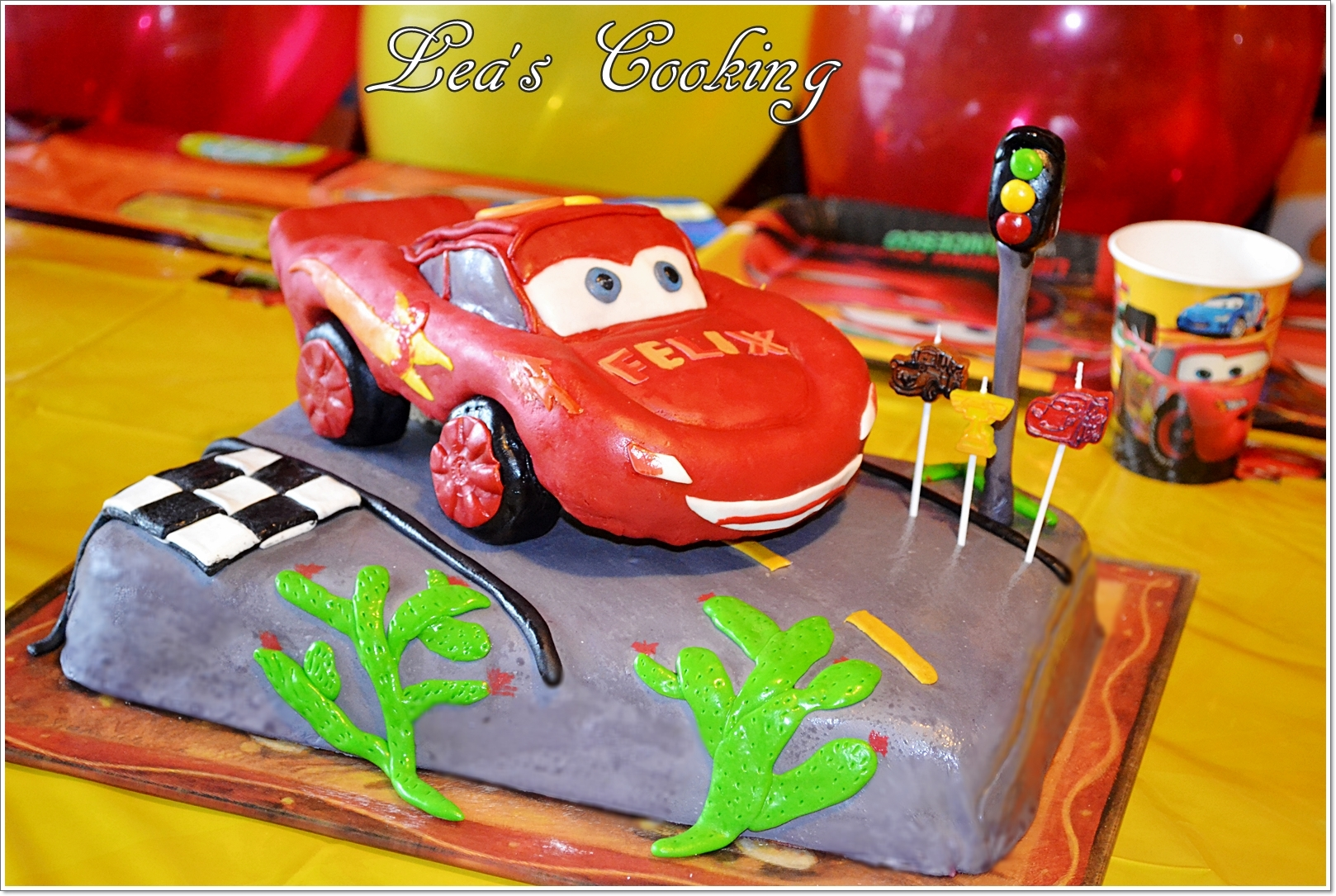 "Inspired by Lightning McQueen from the Disney Movie ""Cars"". Make your kid's birthday cake special. Make a car cake by following these step-by-step instructions at my blog http://leascooking.blogspot.com/2013/01/cars-lightning-mcqueen-cake-topper.html"