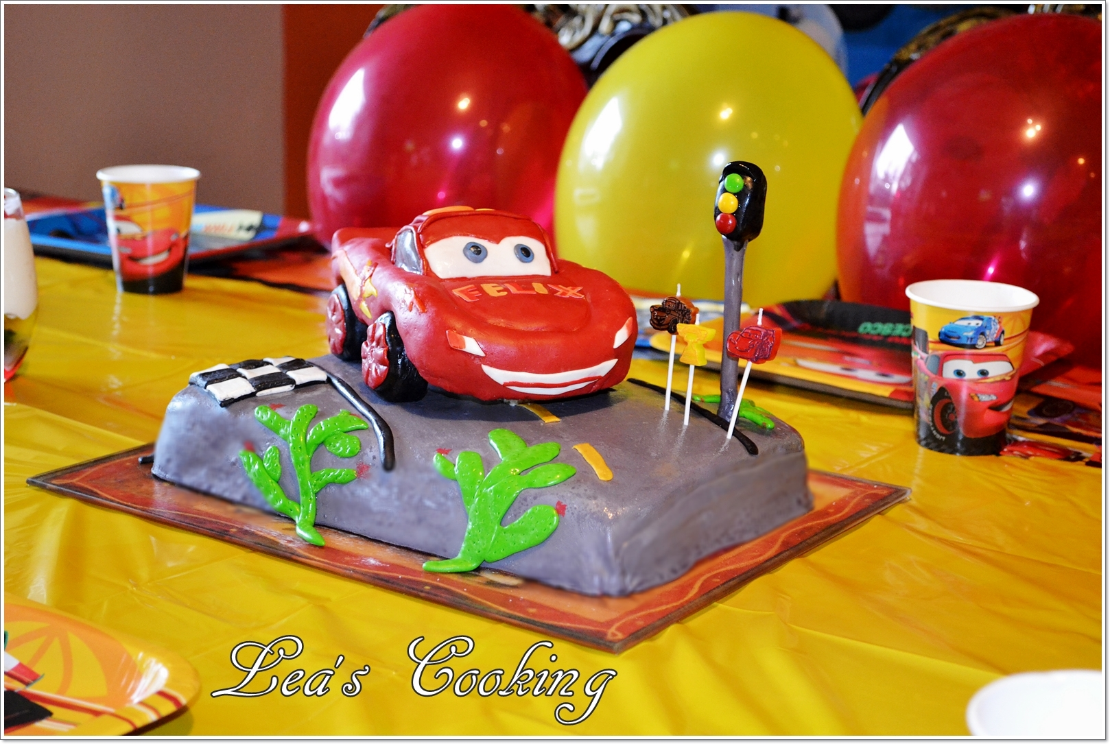 "Make a car cake by following these step-by-step instructions. Inspired by Lightning McQueen from the Disney Movie ""Cars"". Make your kid's birthday cake special. I have a tutorial posted on my blog http://leascooking.blogspot.com/2013/01/cars-lightning-mcqueen-cake-topper.html."