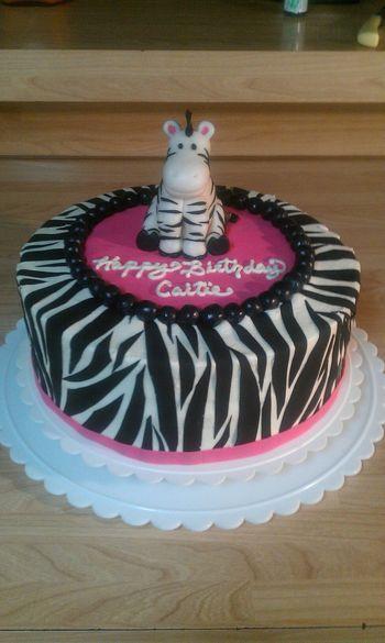 * Buttercream with fondant zebra and wilton sugar sheet zebra stripes