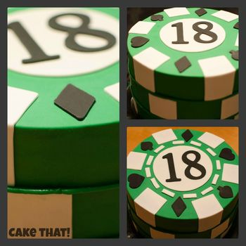 "Extra tall 6"" deep chocolate with SMBC filling.  Covered in MMF fondant and fondant accents.  #Poker Chip Stack -TFL! :D"