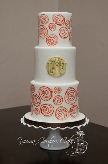 Hand painted burnt orange flowers, antiqued gold, green, and yellow monogram.