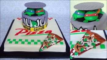 Pizza box/sewer drain TMNT cake, all fondant and gumpaste decor. First time modeling figures. They kind of pancaked out without me realizing it, and dried like that before I could salvage them. :( Fondant pizza slice.