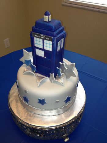 Dr. Who Tardis cake.  The Tardis is where the Dr. travels through time and space! Very fun show.  My daughter is a huge fan!