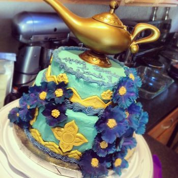 "Here is a Jasmine themed birthday cake that I made for my friend's ""A Whole New World"" birthday party!"