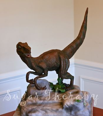 Velociraptor is modeling chocolate.  Cake is the rock.