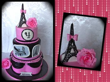 This is my first time trying to make the famous Eiffel Tower. I didn't have enough time to make it out of royal icing, and frankly I was too afraid that it might break on me considering the delivery was going to the very bumpy New York Streets. I ended up making it out of gumaste and RKT. I made a tutorial that I will be posting soon! TFL!