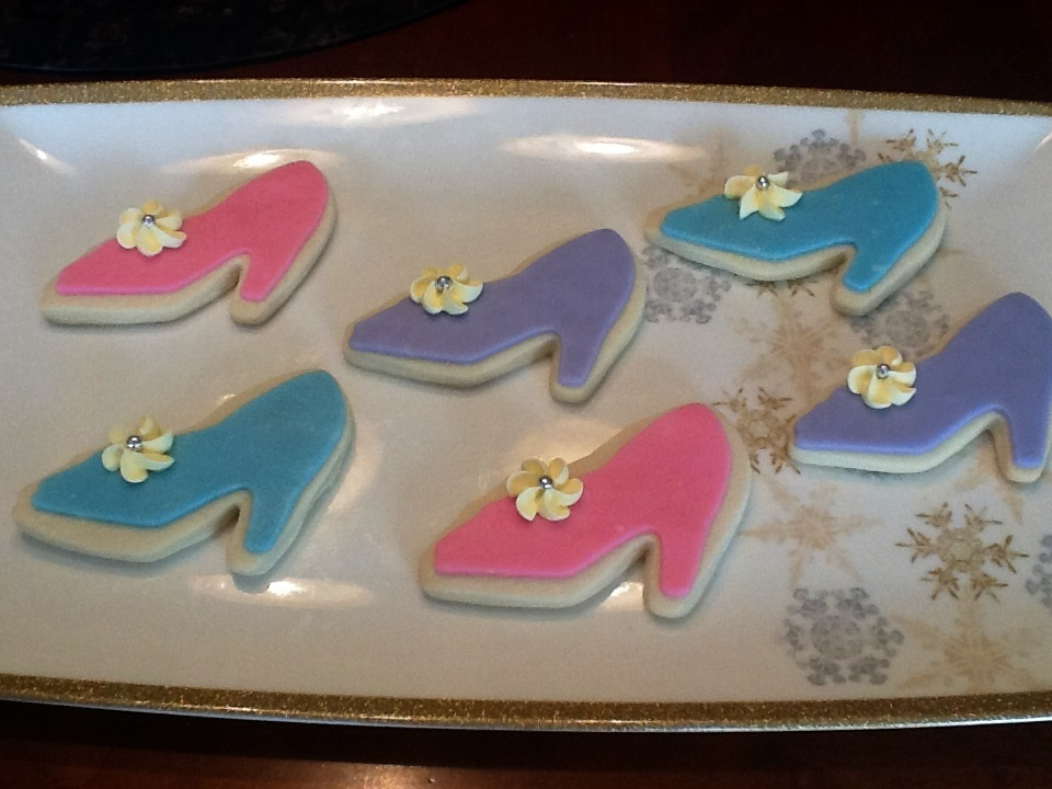 High heel sugar cookies with modeling chocolate and royal icing.
