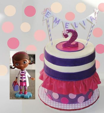 Not everyone knows who Doc McStuffins is yet so I'm showing the character and how the cake relates to her.  A smaller version of Doc was added to the top of the cake at the party.  No pic of that though!