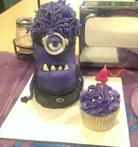 Despicable Me evil purple minion display and purple cupcake for the birthday girl
