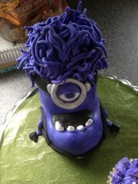 Top view of evil purple minion (fondant-covered rice krispie treat); looks a little blue, but was the perfect minion purple