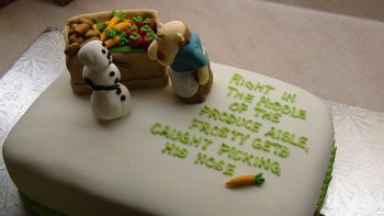 """This cake was done as a thank you for my kids' church group leaders.  On the cake board I wrote """"Thanks for helping to guide our little nose pickers onto the straight and narrow!""""  It was a huge hit."""