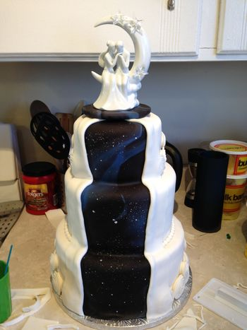 """This is the cake I made for our wedding.  6""""/8""""/10"""".  Lemon on the top and bottom tiers, Chocolate with mint ganache on the middle tier.  Partially inspired by grandmomof1."""