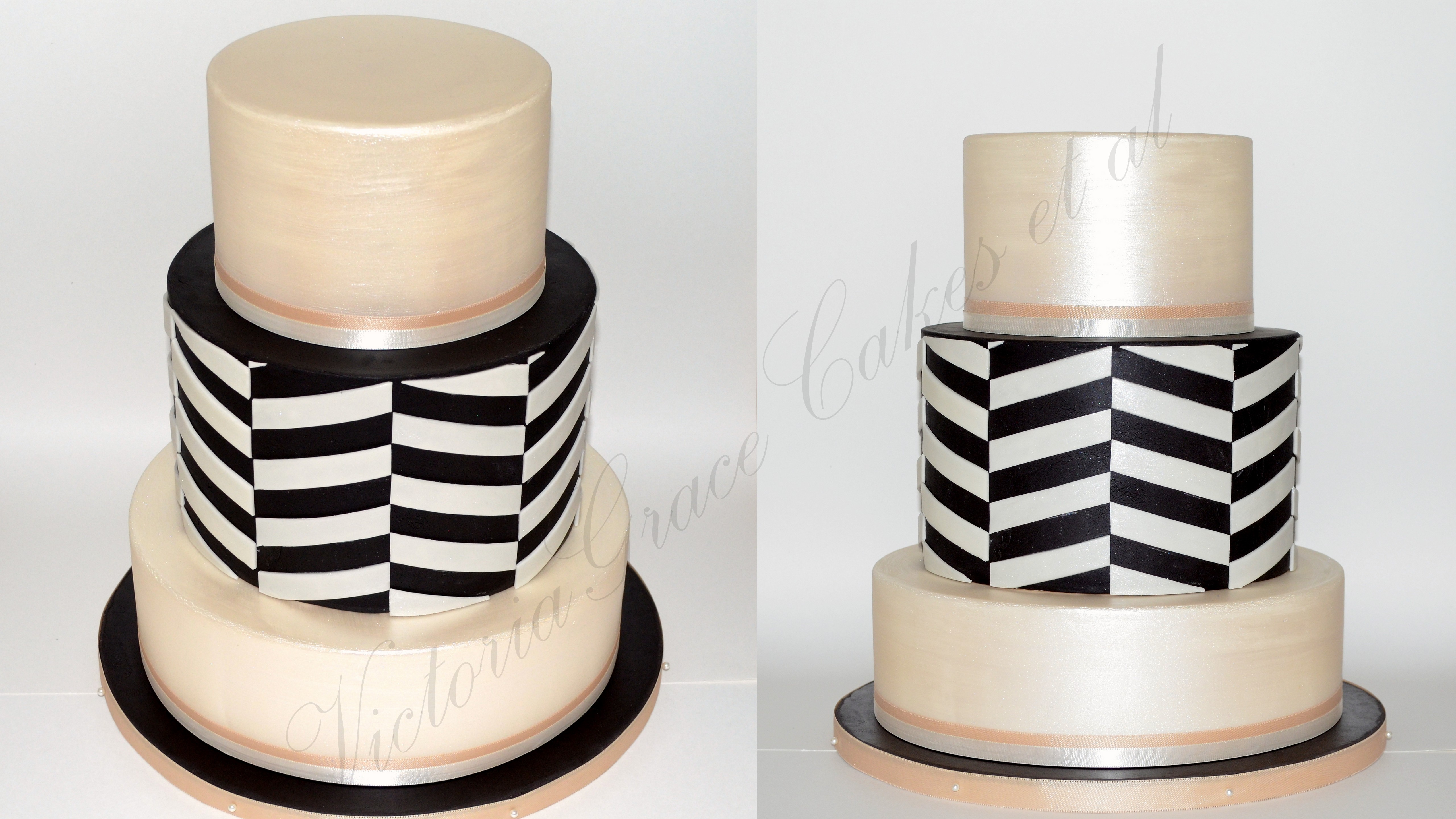 Ivory and chocolate fondant offset chevron.