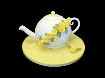 I just love how this one turned out!! Teapot with yellow roses... the customer cried when she saw it! She told me it was for her nan... and that her granddad (who tragically died in his 30s) used to buy her nan yellow roses every week. So this was a way to remember him on her nan's special birthday