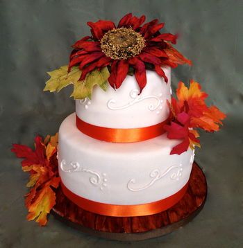 """This cake was done soley for practice, but would feed about 55 if served. 6"""" and 9"""" rounds, covered with fondant and satin ribbon border piped with buttercream, sitting on a fondant covered wood-grain effect board."""