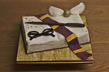 Chocolate cake shaped like a book with modelling chocolate Harry Potter decorations.
