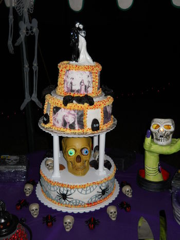 This is the Halloween wedding cake I was working on and they loved it!