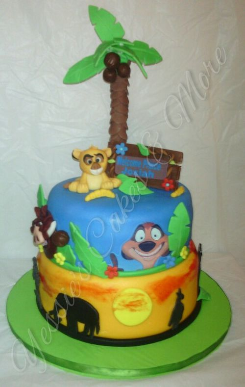 The Lion King Baby Shower Cake. 100% Edible and 100% Fondant decor.