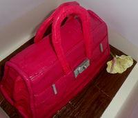 Handbag cake with edible flower