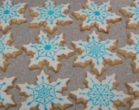 Rolled cut out Butter Cookies, Fondant tops, stencils with royal icing