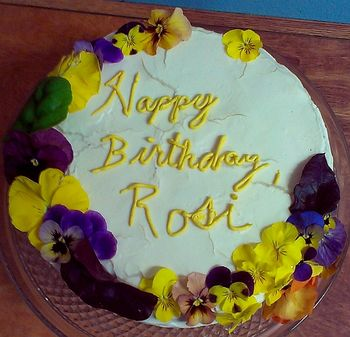 Cheesecake Factory Carrot Cake with Cheesecake Layer Cream Cheese Icing and real flowers All organic and natural, for Rosi.