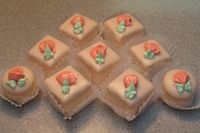 Petit Fours with royal icing piped roses