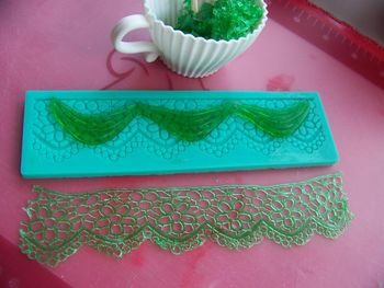 Here we have some lace made with the GummyGel for decorating a cake.  It works well, as long as the pattern is not too fine.  And again, it tastes great when flavored properly, so is quite edible.  Yummy actually.  Recipe for GummyGel can be found on my site here: http://cakecentral.com/t/769021/homemade-gel-for-decorating-cakes-recipe