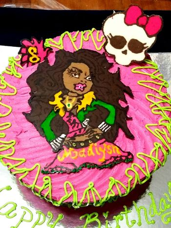 "* Clawdeen Wolf from Monsters High, BC 2 layer, cake was swirled in Pink for a girls birthday party. Skull and Clawdeen, and ""8"" are candy melts"