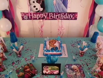 * Frozen Theme birthday cake...Bc, Airbrushing, Candy melts, colored sugar, beaded candy, cake three tones inside color