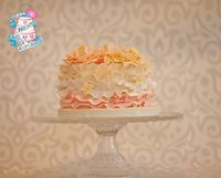 Gumpaste flowers and ruffles in an ombre pattern