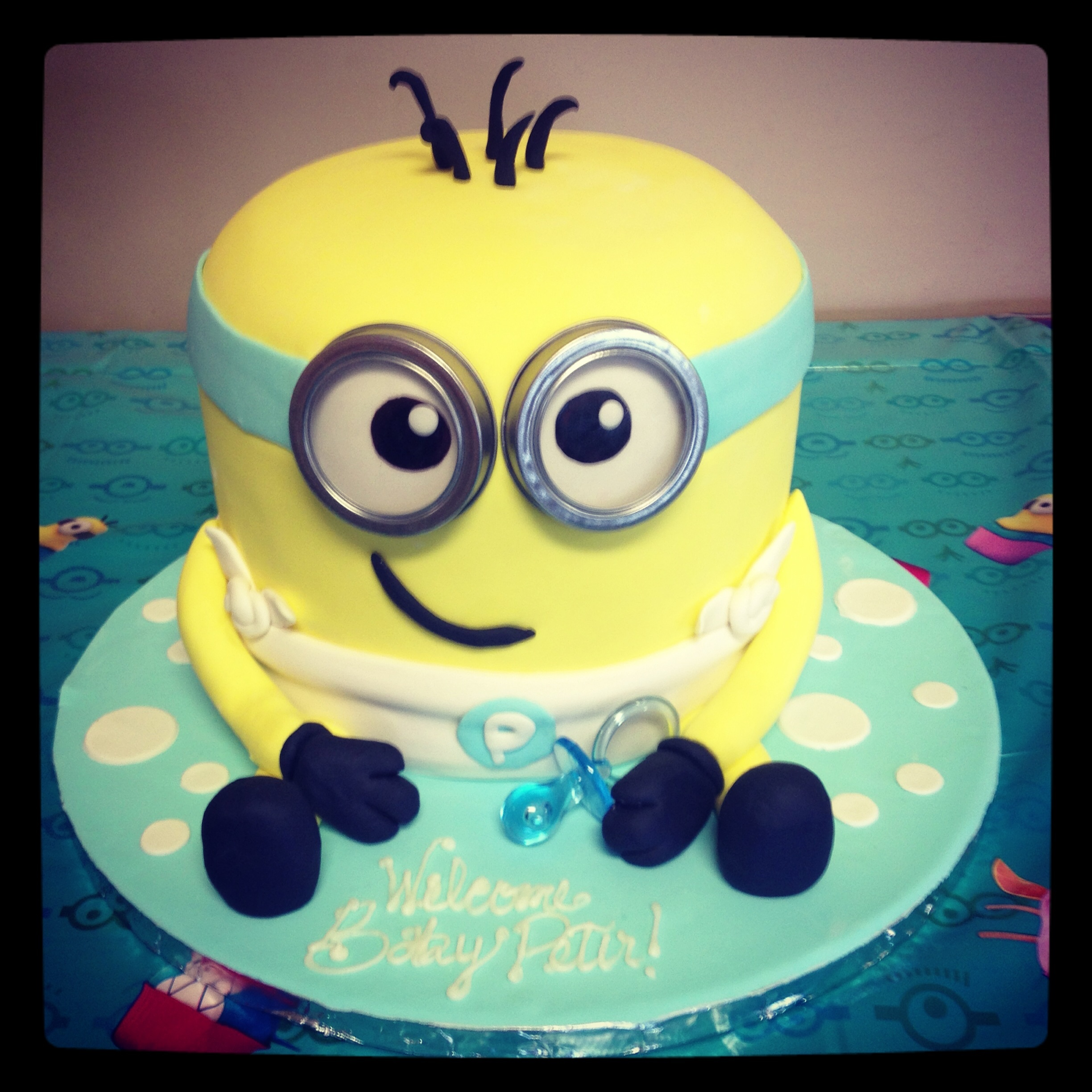 Minion Dave baby shower cake :) first time covering a double barrel cake!!! Yay!!!