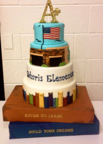 A cake to celebrate curriculum night/back to school/earning an A+ ranking by the state of AZ.  The top two tiers are a replicate of the front of the school.