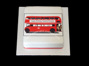 A quick cake for a friend who has hired a London Route Master bus for his daughters' birthdays.  Family and friends are looking forward to a trip around the sights of London tomorrow!