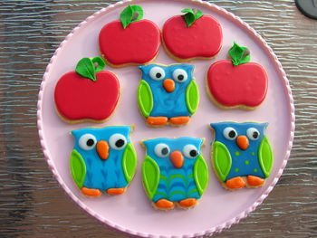 Apple and Owl cookies