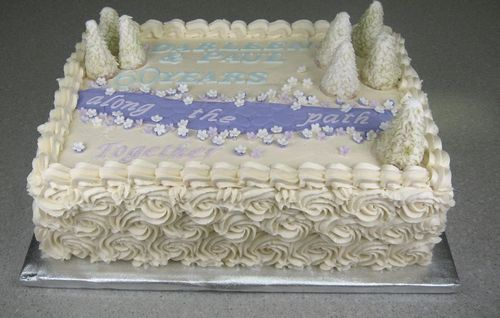 """60th wedding anniversary. requested a sheet cake with trees and a path with """"60 years along the path together"""""""