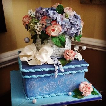 "Made this for a customer's wife's 56th birthday.  He told me she likes hydrangeas and basket weave, so i designed the cake around that.  The top tier is actually a hat box, but I ended up with so many flowers (and wasn't about NOT to put them on the cake hehe) that it's hard to see the lid.   Cake: Top tier-6"" round Chocolate Butter cake, buttercream, hazelnut mousse, chocolate ganache over the entire tier under the fondant basket weave. Bottom tier-10"" square Golden Butter cake, buttercream, hazelnut mousse, cookies'n'cream filling, chocolate ganache, fondant.  Decorations: Flowers, bow, curlicues, pearl balls-gum paste. Basket weave-fondant."