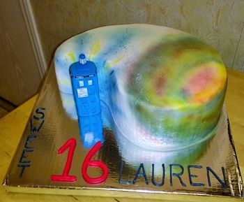 Dr. Who themed birthday. Buttercream iced, airbrushed galaxy, gum paste tardis
