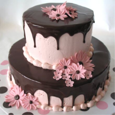 Flowers done in fondant/gum paste mix, pink IMBC topped with dark chocolate ganache.