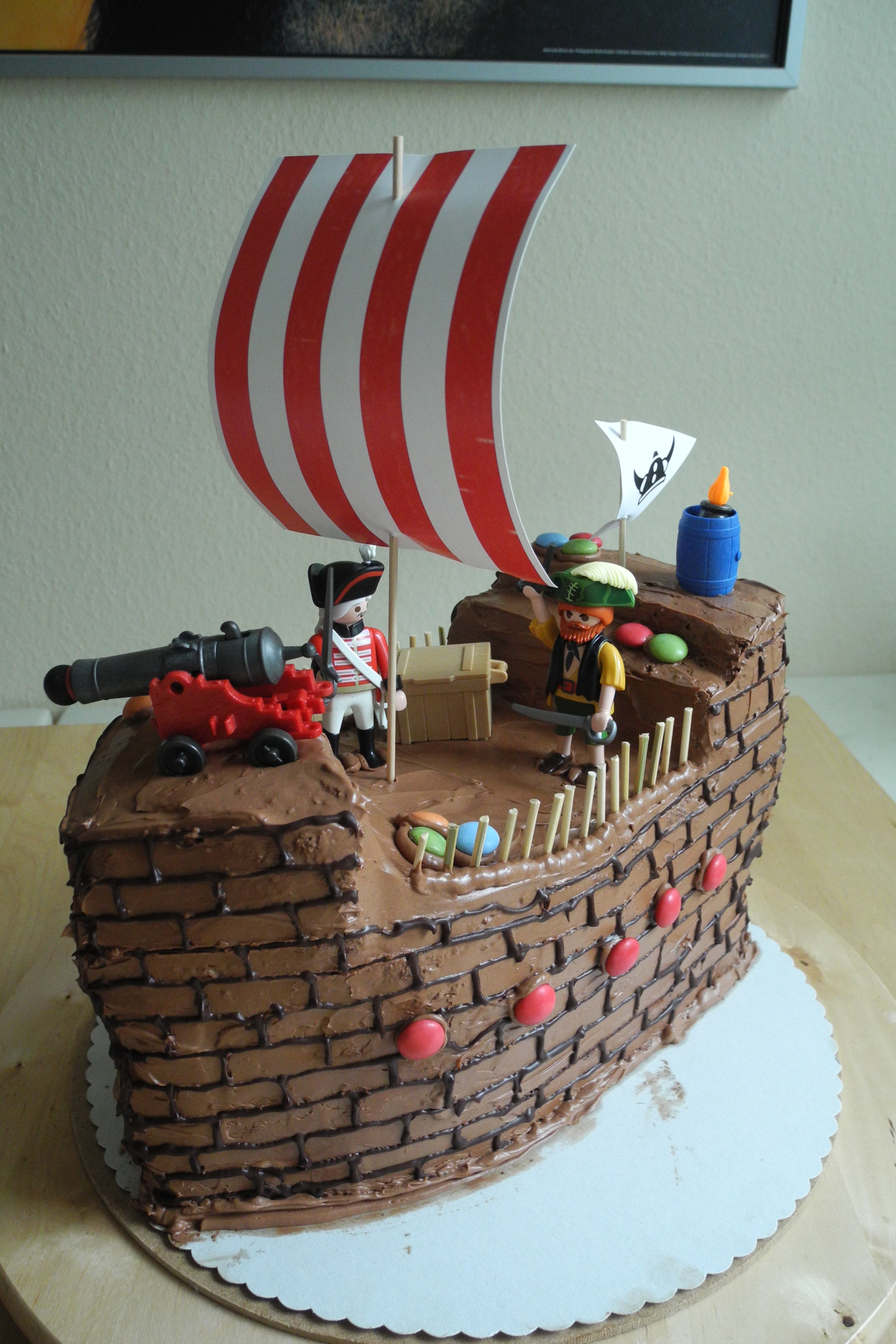 Pirate and Vikings Chocolate Buttercreme Ship Cake for 1st day at school